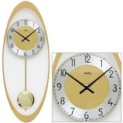 Wanduhr Quarz mit Pendel golden oval Pendeluhr mit Glas und Aluminium