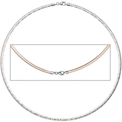 Halsreif Halskette Collier 925 Silber rotgold vergoldet beidseitig tragbar 45cm
