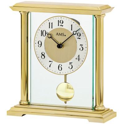 Tischuhr Quarz mit Pendel golden Metall messing farben mit Glas