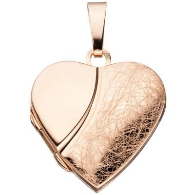 Medaillon Herz für 2 Fotos 925 Silber rotgold vergoldet Anhänger zum Öffnen