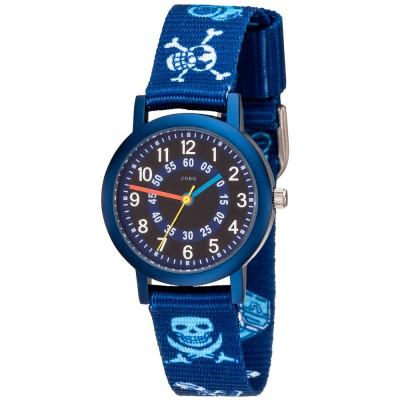 JOBO Kinder Armbanduhr Pirat blau Quarz Aluminium Kinderuhr Jungenuhr