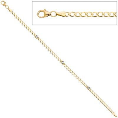 Armband 333 Gelbgold 3 Blautopase hellblau blau 19cm Goldarmband Karabiner