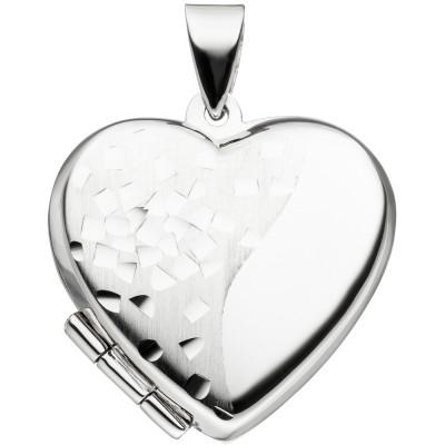 JOBO Medaillon Herz für 2 Fotos 925 Silber teil matt Herzmedaillon zum Öffnen