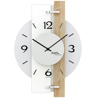 AMS Wanduhr Quarz Hochglanz weiß Holz Sonoma Optik mit Aluminium und Glas
