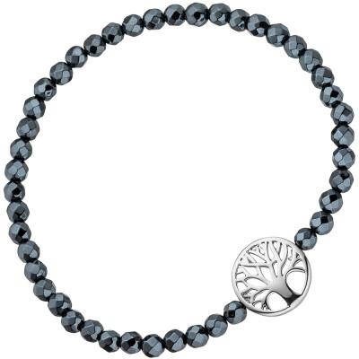 JOBO Armband Lebensbaum 925 Sterlingsilber mit Hämatit schwarz flexibel