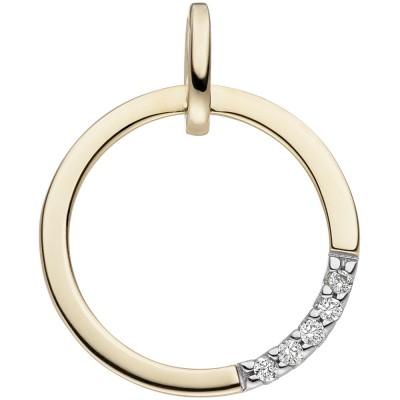 JOBO Anhänger 585 Gelbgold 5 Diamanten Brillanten