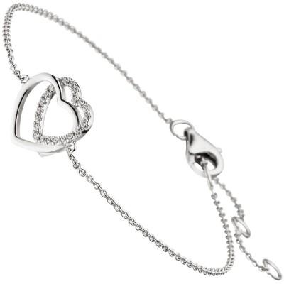 Armband Herz Herzen 925 Sterling Silber 21 Zirkonia 18cm
