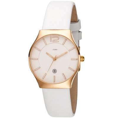 Damen Armbanduhr Quarz Analog Edelstahl roségold plattiert Lederband weiß