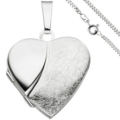 Medaillon Herz Anhänger zum Öffnen für 2 Fotos 925 Silber mit Kette 60cm