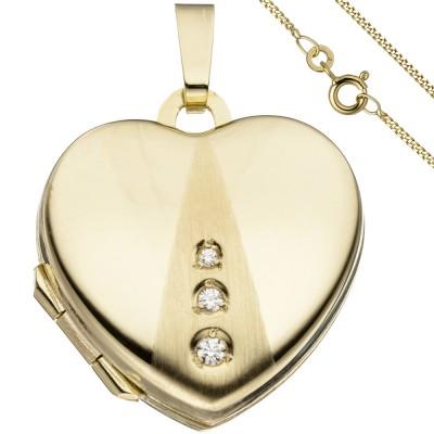 Medaillon Herz Anhänger zum Öffnen für Fotos 333 Gold 3 Zirkonia mit Kette 45cm