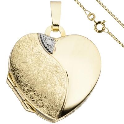 Medaillon Herz Anhänger zum Öffnen für 2 Fotos 333 Gold mit Kette 50cm