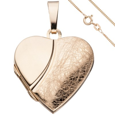 Medaillon Herz Anhänger zum Öffnen 925 Silber rosegold vergoldet mit Kette 45cm