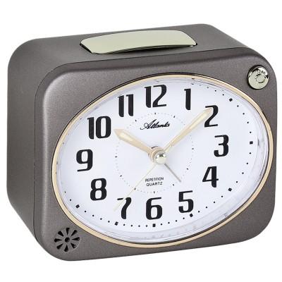 Wecker Quarz analog grau leise ohne Ticken Licht Glockensignal