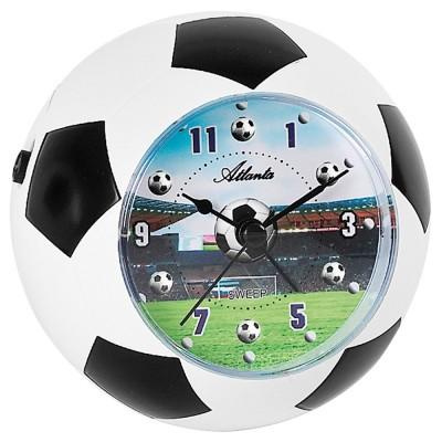 Wecker Kinderwecker weiß schwarz Fußball Fußballwecker für Kinder