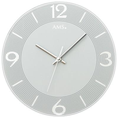 Wanduhr Quarz analog grau rund mit Glas leise ohne Ticken