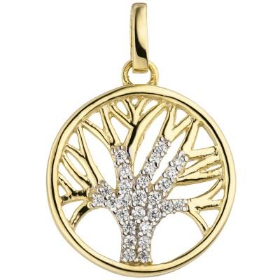 Anhänger Lebensbaum Baum 375 Gelbgold bicolor 27 Zirkonia