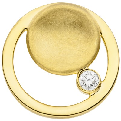 Anhänger rund 585 Gelbgold teil matt 1 Diamant Brillant