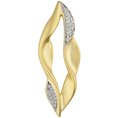 Anhänger 585 Gelbgold teil matt 32 Diamanten Brillanten