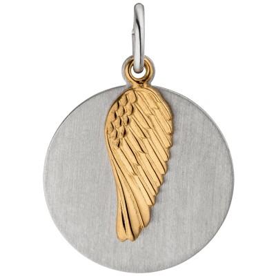 Anhänger Flügel Gravur Gravurplatte 925 Sterling Silber bicolor vergoldet