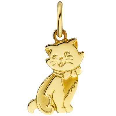 Anhänger Katze 333 Gelbgold teil matt