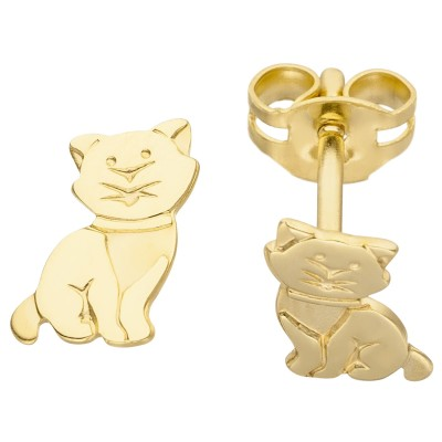 Ohrstecker Katze 333 Gelbgold Ohrringe Goldohrringe Katzenohrringe