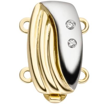 Schließe 2-reihig 585 Gelbgold bicolor 2 Diamanten Kettenverschluss