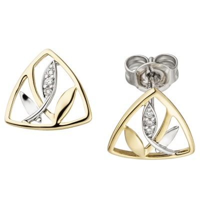 Ohrstecker 585 Gelbgold Weißgold bicolor 6 Diamanten Brillanten Ohrringe