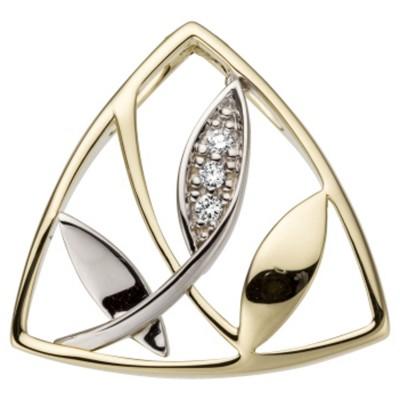 Anhänger 585 Gelbgold Weißgold bicolor 3 Diamanten Brillanten 0,03ct.
