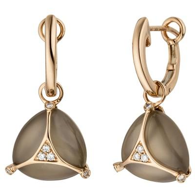 Creolen 585 Rotgold 2 Mondstein Cabochons 12 Diamanten Brillanten Ohrringe