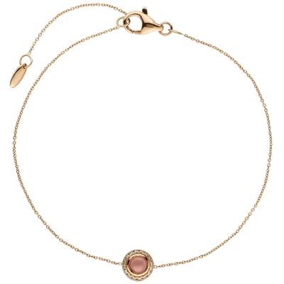 Armband 585 Rotgold 1 Turmalin Cabochon pink 16 Diamanten Brllanten 20cm