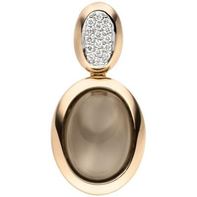 Anhänger 585 Rotgold 1 Mondstein Cabochon 16 Diamanten Brillanten