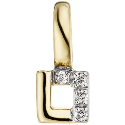 Anhänger 585 Gelbgold 4 Diamanten Brillanten eckig