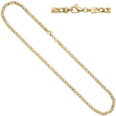 Halskette Kette 585 Gelbgold teil matt 50cm Karabiner