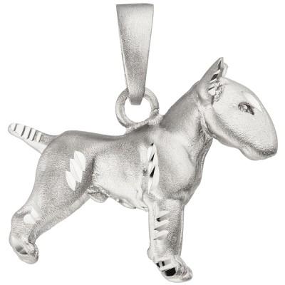 Anhänger Bullterrier Hund 925 Sterlingsilber matt