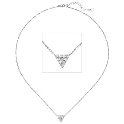 Collier Kette mit Anhänger Dreieck 925 Silber 10 Zirkonia 46cm