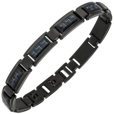 Armband Edelstahl schwarz beschichtet mit Carbon blau 21cm