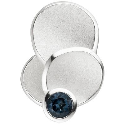 Anhänger 925 Silber teil matt 1 Blautopas hellblau blau