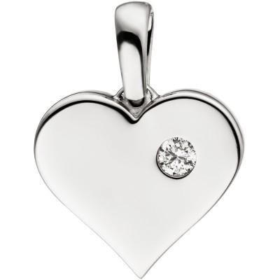 Anhänger Herz 585 Weißgold 1 Diamant Brillant