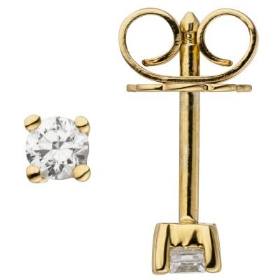 Ohrstecker 585 Gelbgold 2 Diamanten Brillanten 0,14ct. Ohrringe