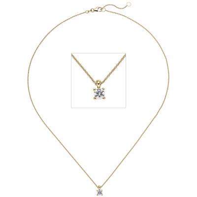 Collier Kette mit Anhänger 585 Gelbgold 1 Diamant Brillant 0,50ct. 45cm