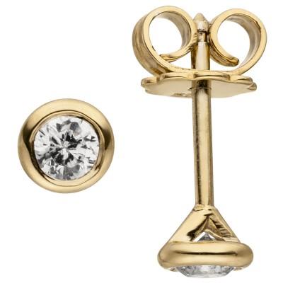 Ohrstecker rund 585 Gelbgold 2 Diamanten Brillanten 0,24ct. Ohrringe