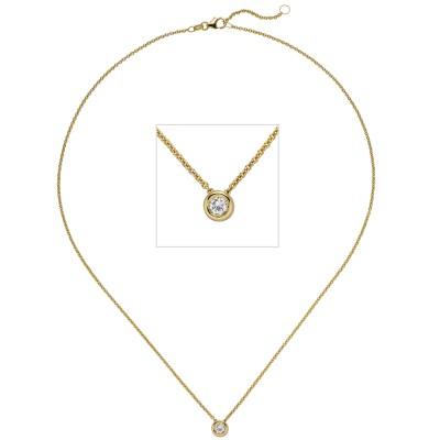 Collier Kette mit Anhänger 585 Gelbgold 1 Diamant Brillant 0,25ct. 45cm