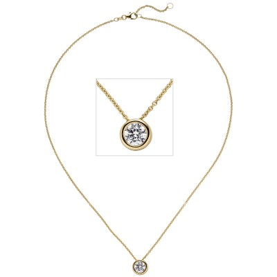 Collier Kette mit Anhänger 585 Gelbgold 1 Diamant Brillant 1,0ct. 45cm