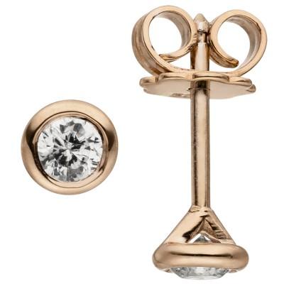 Ohrstecker rund 585 Rotgold 2 Diamanten Brillanten 0,14ct. Ohrringe