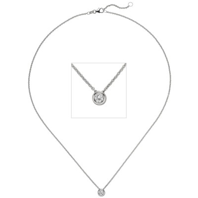 Collier Kette mit Anhänger 585 Weißgold 1 Diamant Brillant 0,25ct. 45cm