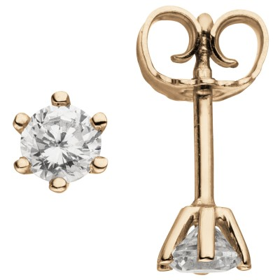 Ohrstecker 585 Rotgold 2 Diamanten Brillanten 0,74ct. Ohrringe