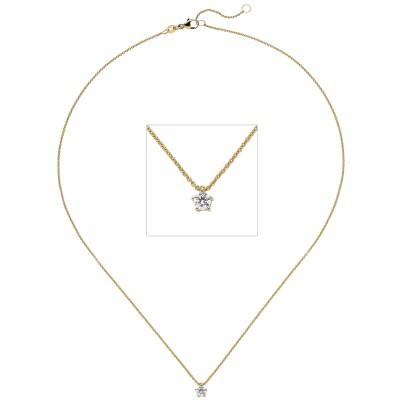 Collier Kette mit Anhänger 585 Gelbgold 1 Diamant Brillant 0,15ct. 45cm