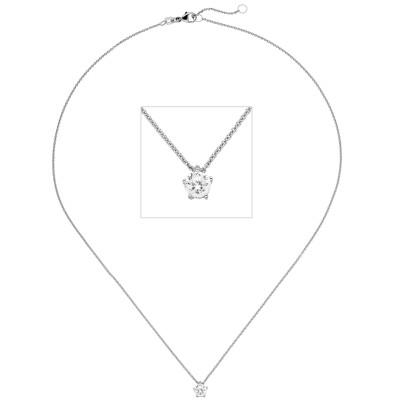 Collier Kette mit Anhänger 585 Weißgold 1 Diamant Brillant 0,70ct. 45cm