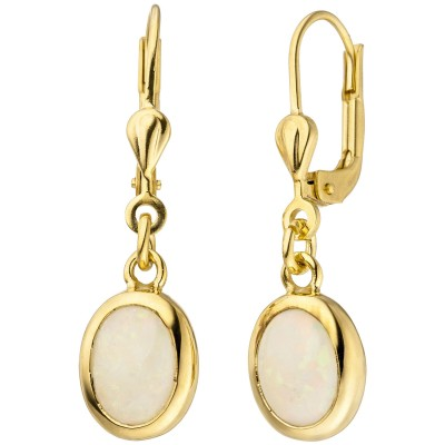 Ohrhänger 585 Gelbgold 2 Opale Ohrringe Goldohrringe Opalohrringe
