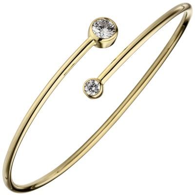 Armreif Armband 925er Sterling Silber gold vergoldet 2 Zirkonia